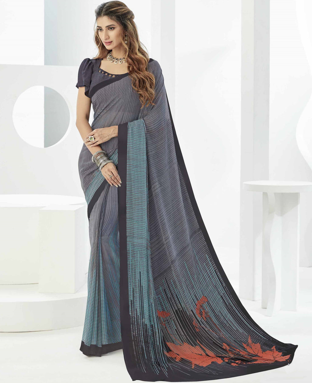 Grey Color Georgette Beautiful Daily Wear Sarees NYF-6289