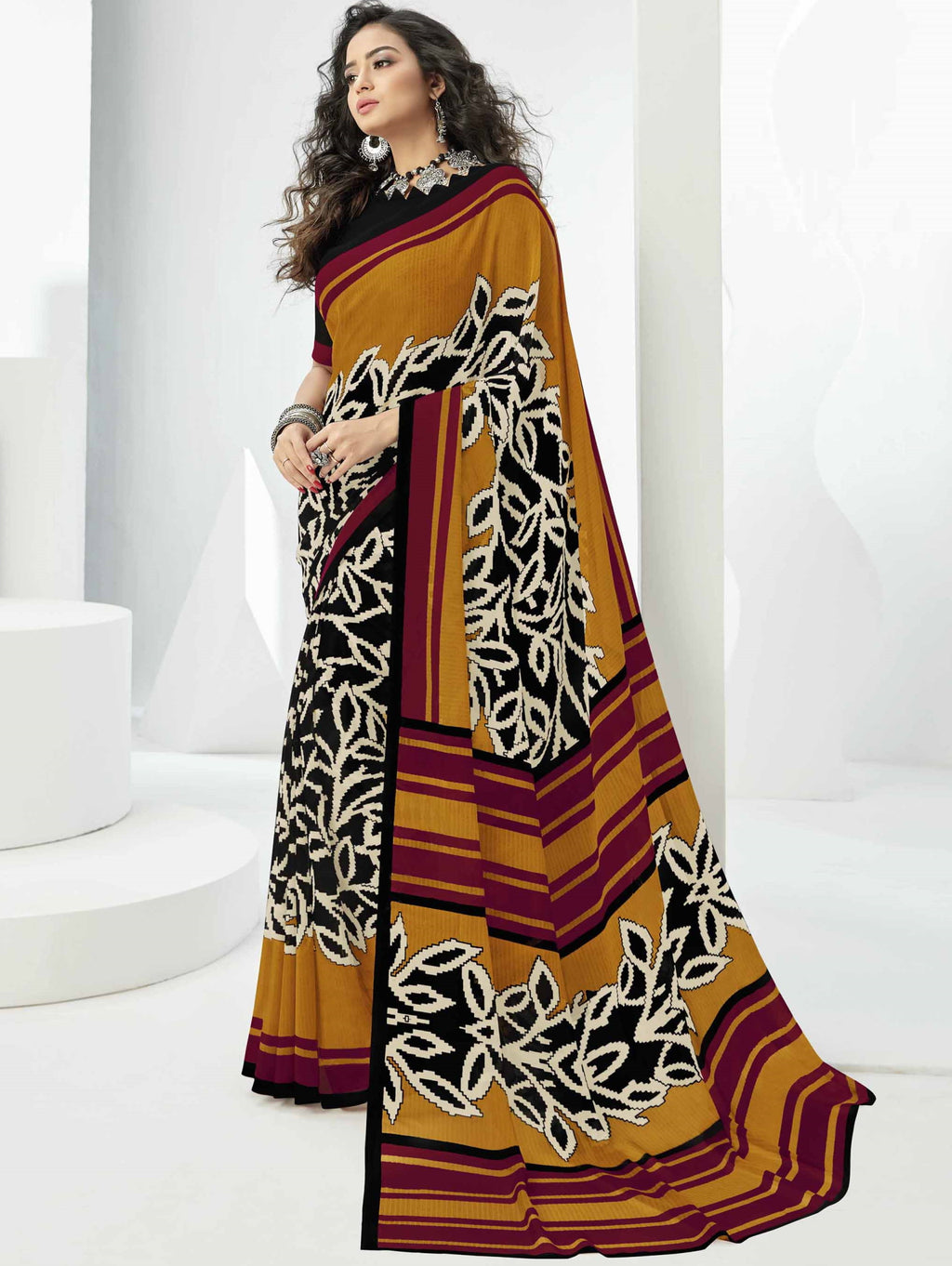 Black Color Georgette Beautiful Daily Wear Sarees NYF-6290