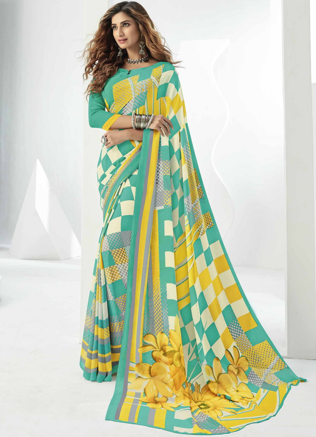 Sea Green, Yellow & White Color Georgette Beautiful Daily Wear Sarees NYF-6292