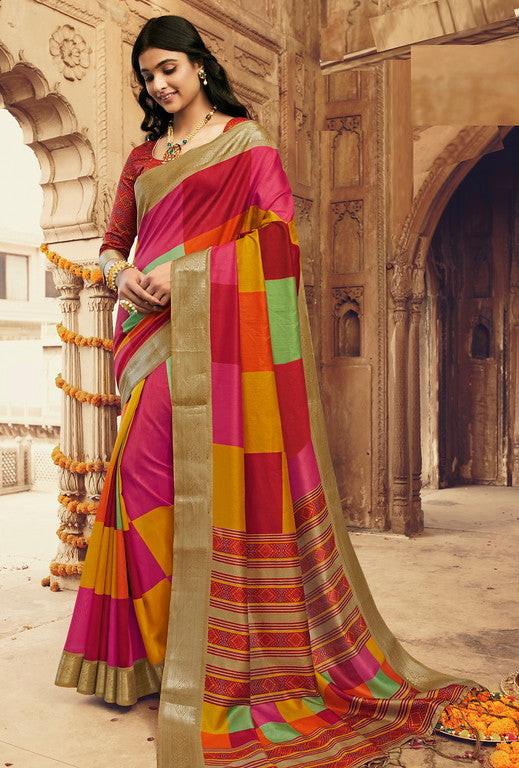 Multi Color Art Silk With Woven Border Casual Wear Saree -Ella Collection  YF#10795