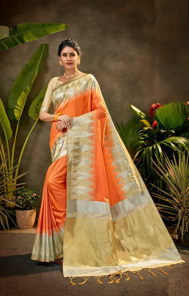 Orange and  Golden Color Art SilkTraditional Wear Saree Ayna Collection YF#11770
