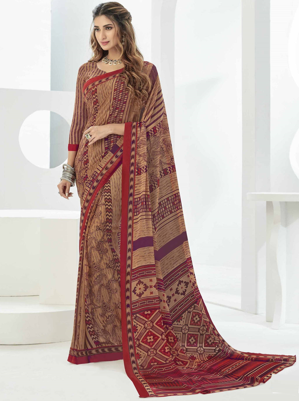 Multi Color Georgette Beautiful Daily Wear Sarees NYF-6293