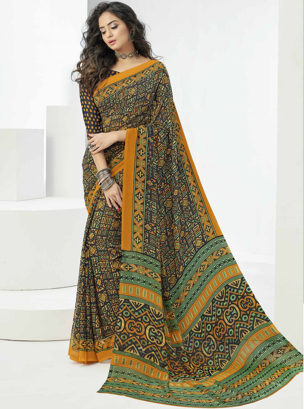 Multi Color Georgette Beautiful Daily Wear Sarees NYF-6294