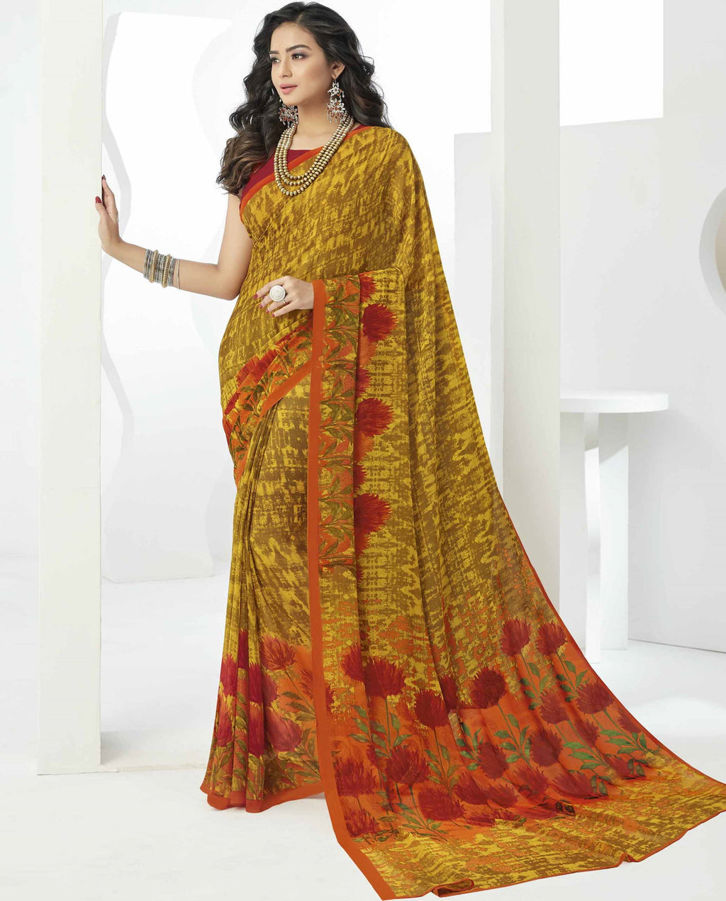 Mustard Yellow Color Georgette Beautiful Daily Wear Sarees NYF-6295