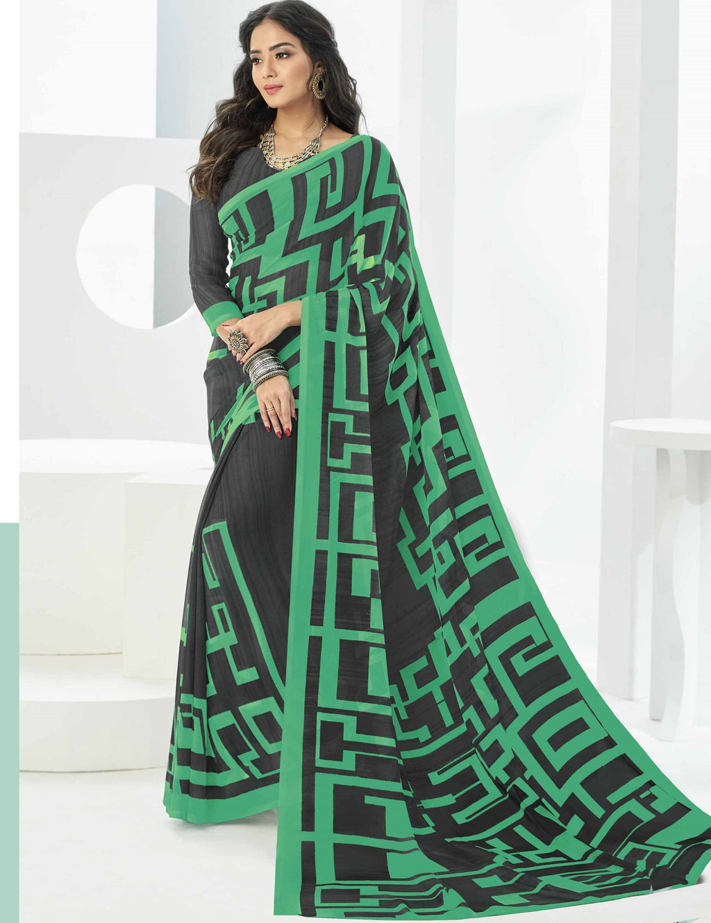 Grey & Green Color Georgette Beautiful Daily Wear Sarees NYF-6296