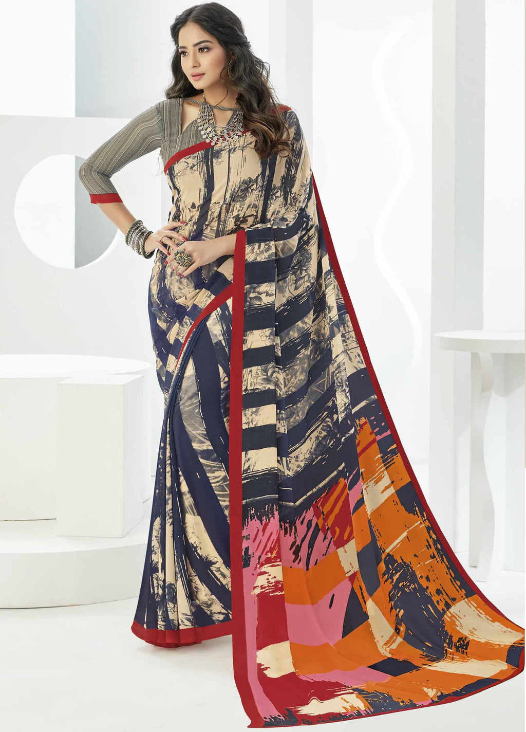 Multi Color Georgette Beautiful Daily Wear Sarees NYF-6297