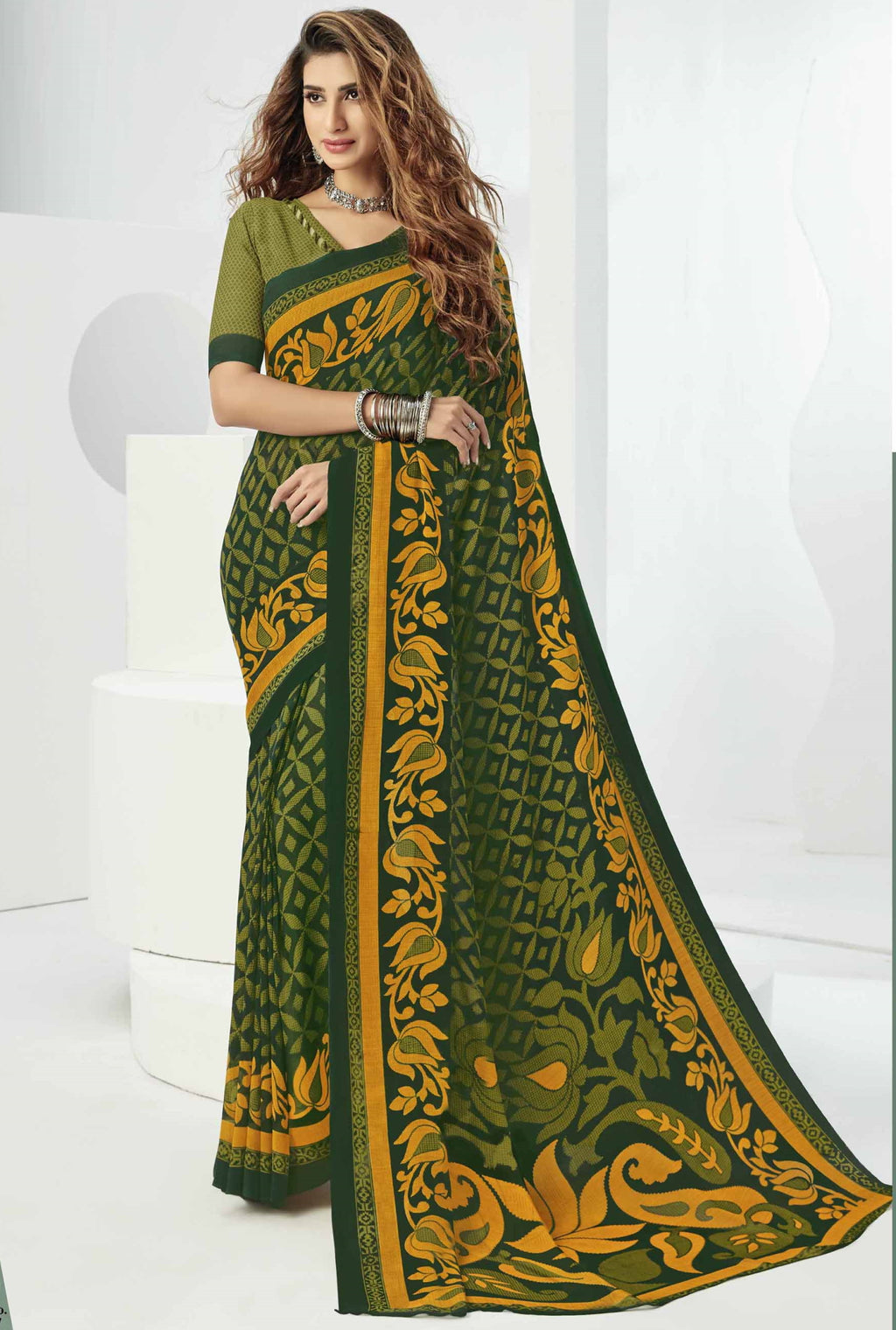Green Color Georgette Beautiful Daily Wear Sarees NYF-6300