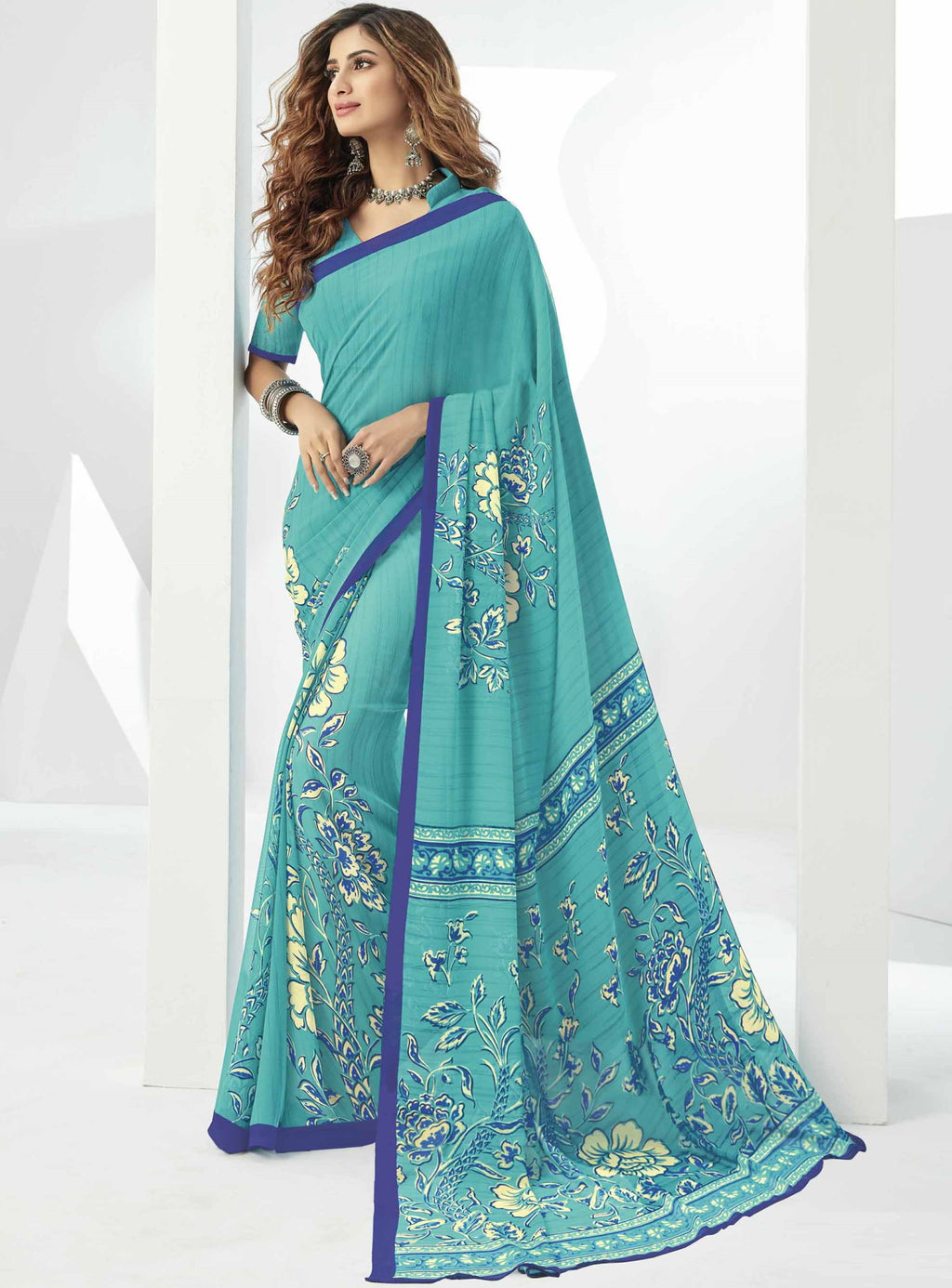 Sky Blue Color Georgette Beautiful Daily Wear Sarees NYF-6301