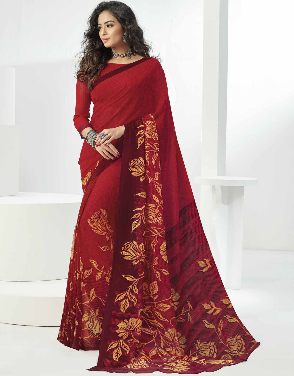 Red Color Georgette Beautiful Daily Wear Sarees NYF-6303