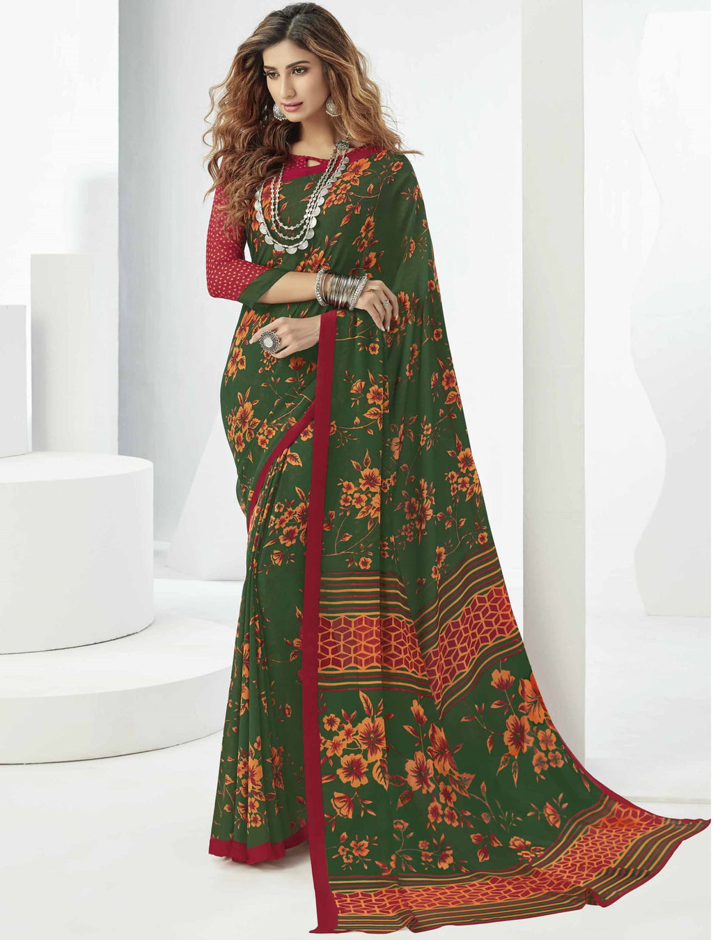 Green Color Georgette Beautiful Daily Wear Sarees NYF-6304