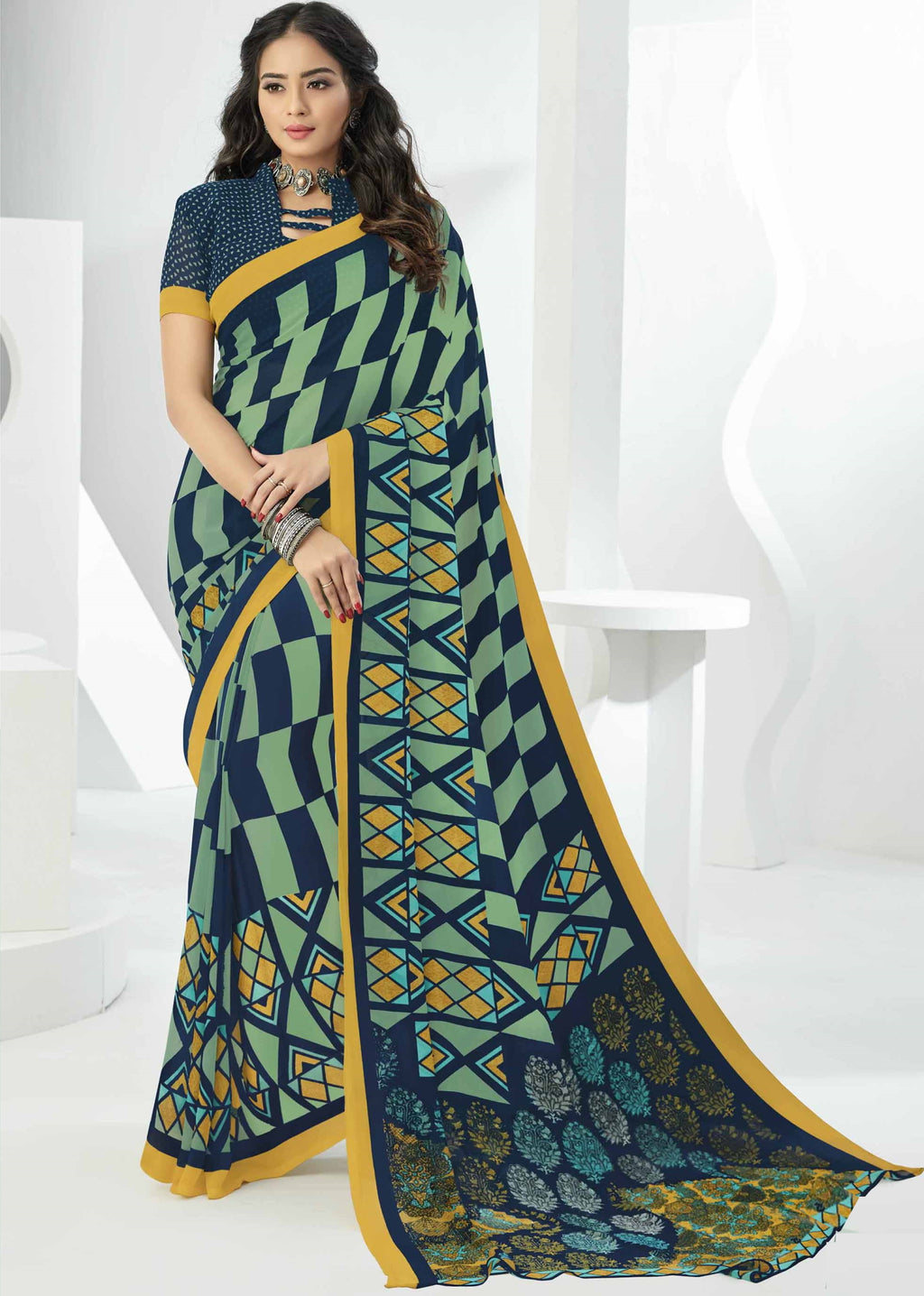Blue & Aqua Green Color Georgette Beautiful Daily Wear Sarees NYF-6305