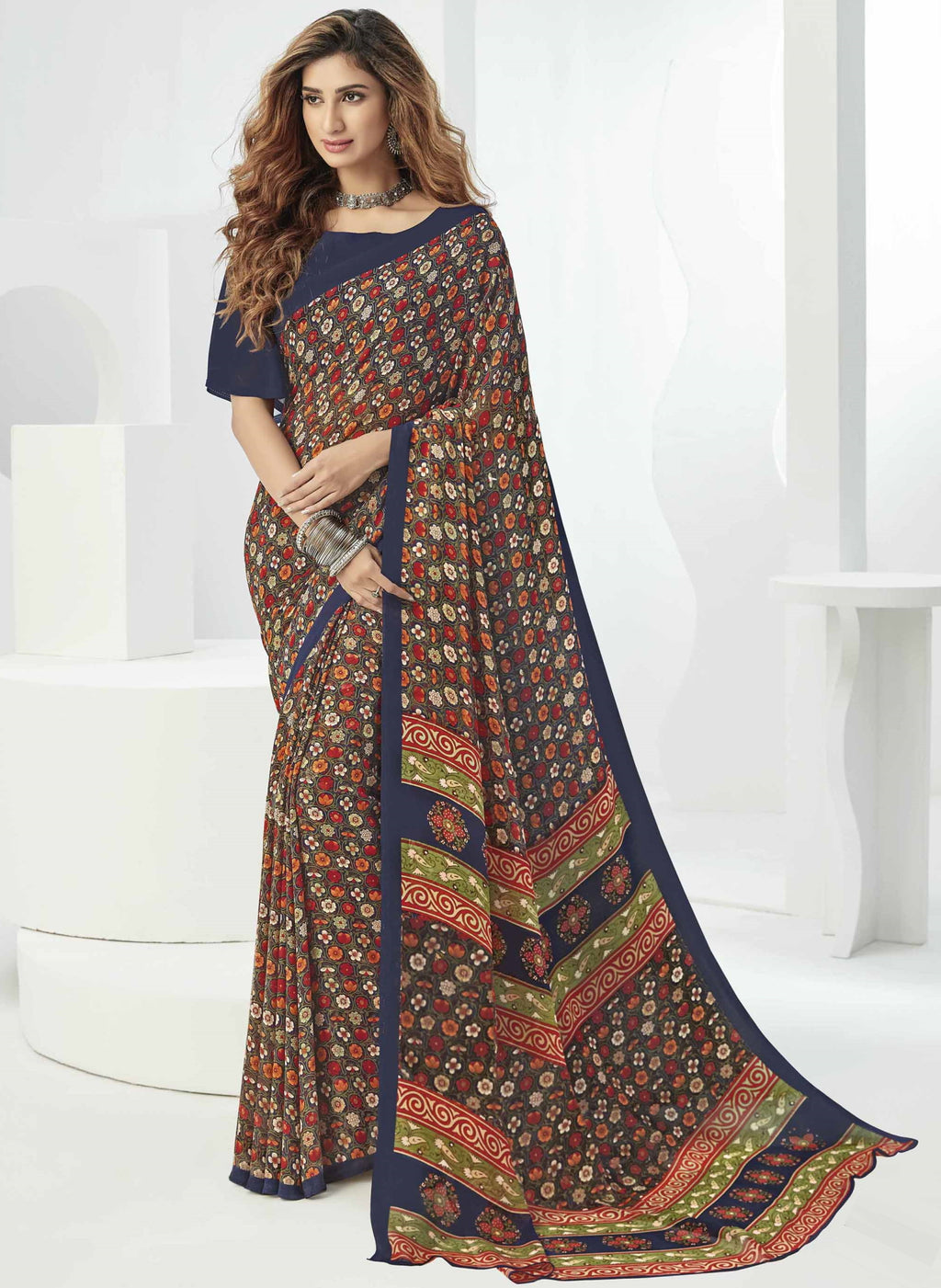 Multi Color Georgette Beautiful Daily Wear Sarees NYF-6306