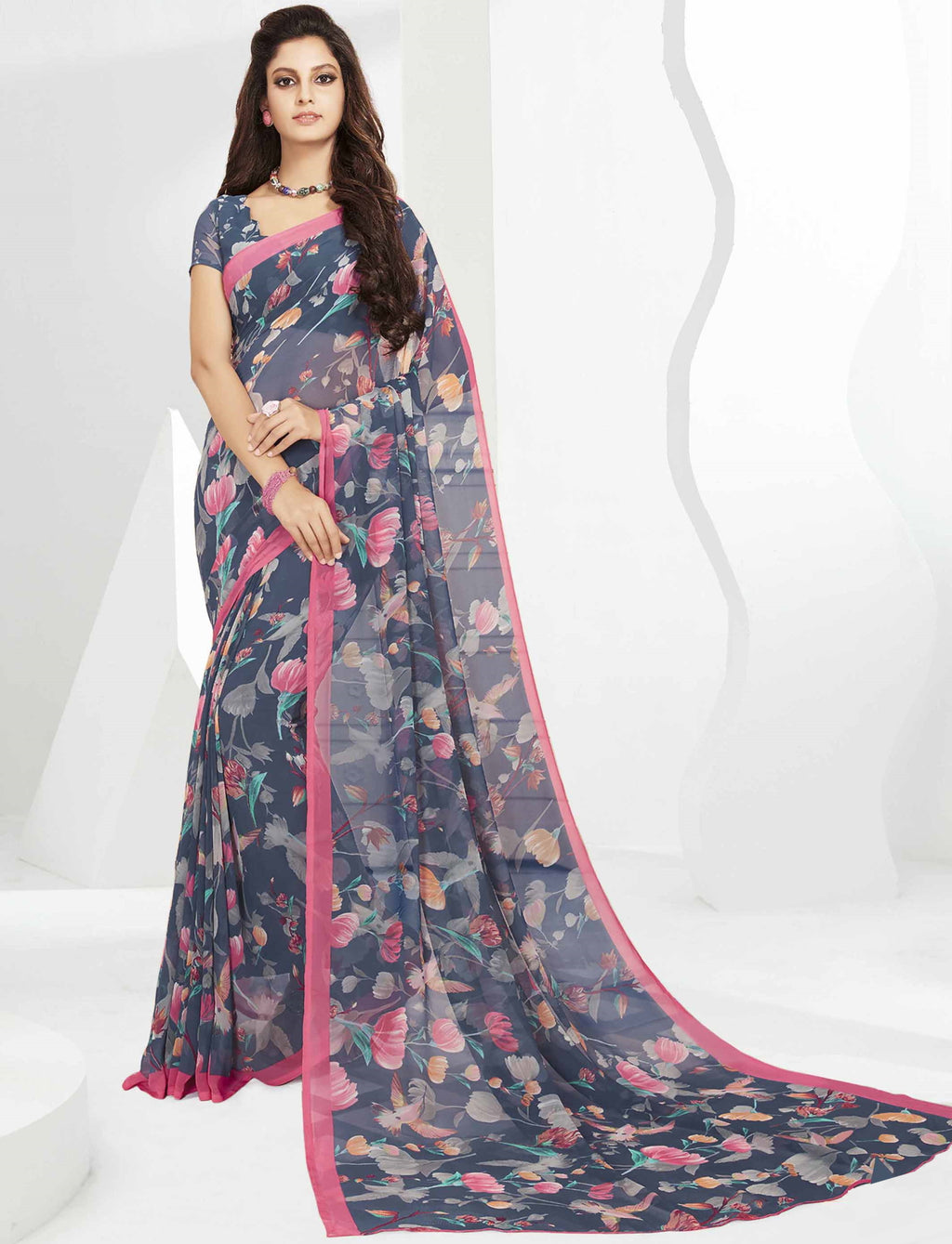 Grey Color Georgette Beautiful Daily Wear Sarees NYF-6309