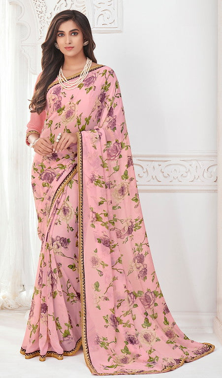 Baby pink Color Georgette Casual Wear saree - Preeti Collection YF#10202
