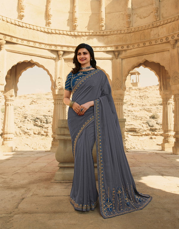 Grey Color Dupian Silk Festive Wear Sarees -  Rabhya Collection  YF#10853