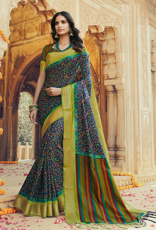 Multi Color Art Silk With Woven Border Casual Wear Saree -Ella Collection  YF#10796