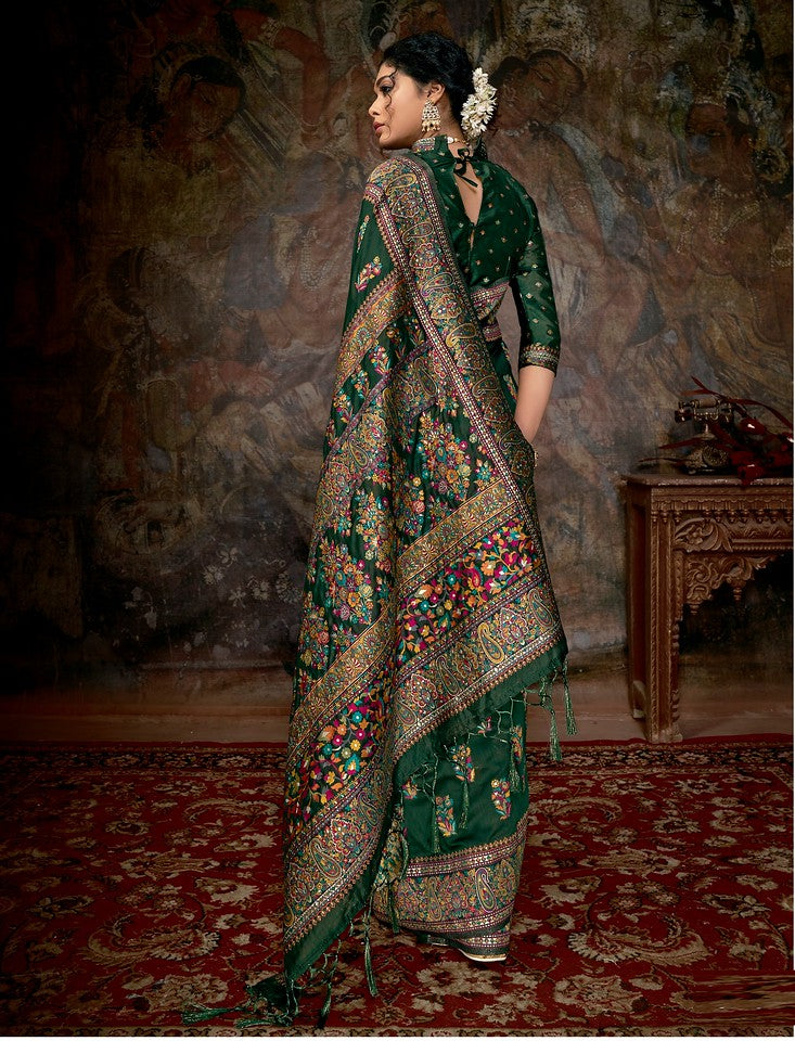 Bottle Green Color Cotton Silk Traditional Wear Saree Aakarsh Collection   YF#11694