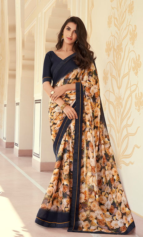 Beige and Navy Blue Color Georgette Casual Wear Saree -   Iksha  Collection  YF#11396