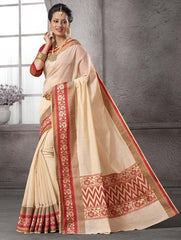 Cream & Red Color Cotton Festival & Function Wear Sarees : Nilita Collection  YF-48326
