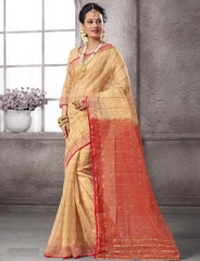 Light Coffee & Red Color Cotton Festival & Function Wear Sarees : Nilita Collection  YF-48327