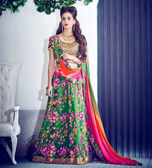 Green, Orange & Pink Color Half Raw Silk & Half Georgette Designer Lehenga For Weddings & Functions : Twinkle Collection  YF-32576