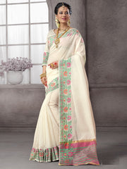 Off White Color Cotton Festival & Function Wear Sarees : Nilita Collection  YF-48331