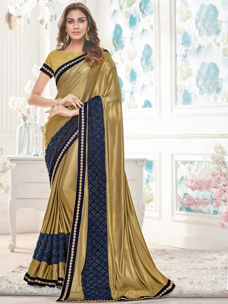 Golden Color Lycra Designer Festive Sarees : Yashvita Collection  NYF-1598 - YellowFashion.in