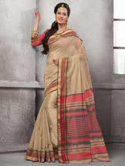 Light Coffee Color Cotton Festival & Function Wear Sarees : Nilita Collection  YF-48332