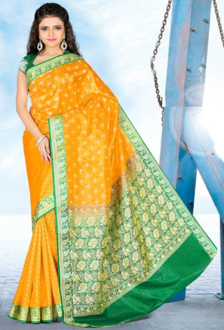 Yellow & Green Color Art Silk Casual Wear Sarees : Dhir Collection  YF-31536