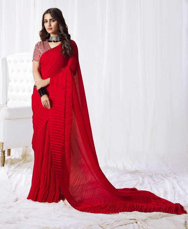 Red Color Satin Silk Evening wear Saree - Rangat Collection YF#10288