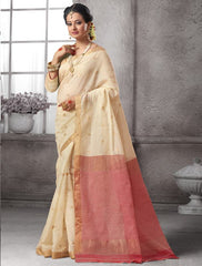 Cream Color Cotton Festival & Function Wear Sarees : Nilita Collection  YF-48333