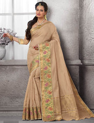 Light Coffee Color Cotton Festival & Function Wear Sarees : Nilita Collection  YF-48334