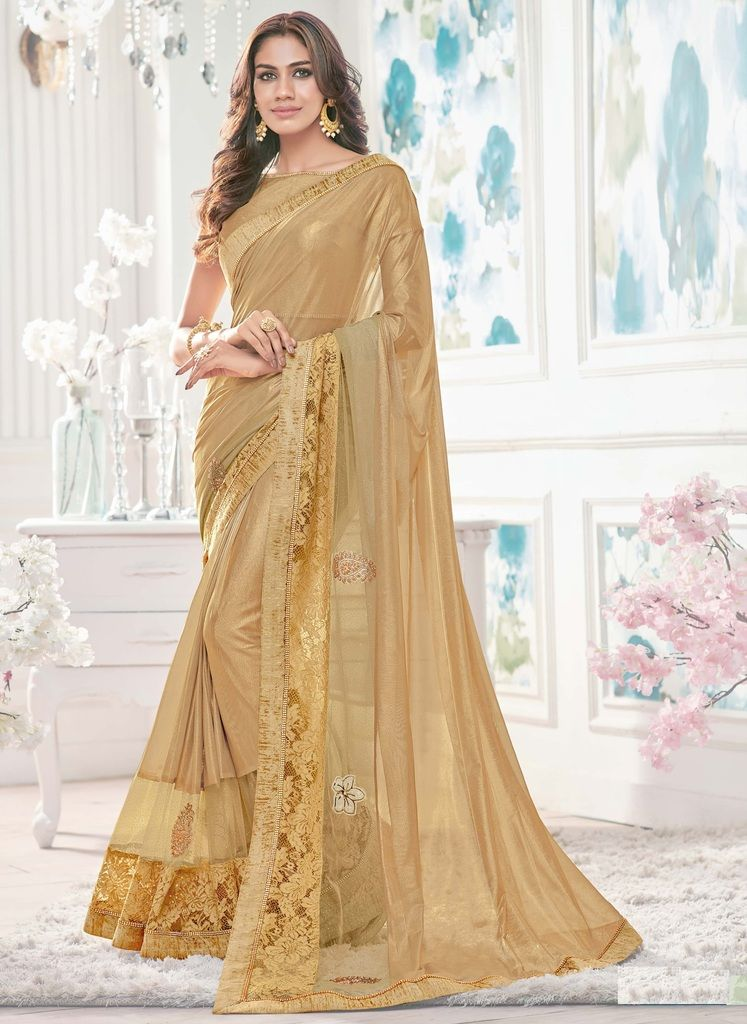 Golden Color Lycra Designer Festive Sarees : Yashvita Collection  NYF-1600 - YellowFashion.in