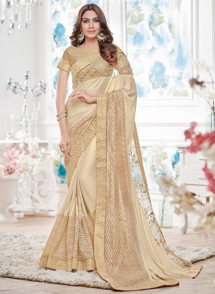 Cream Color Lycra Designer Festive Sarees : Yashvita Collection  NYF-1604 - YellowFashion.in
