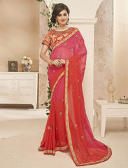 Red & Pink Color Georgette Designer Festive Sarees : Dipshita Collection  YF-55077