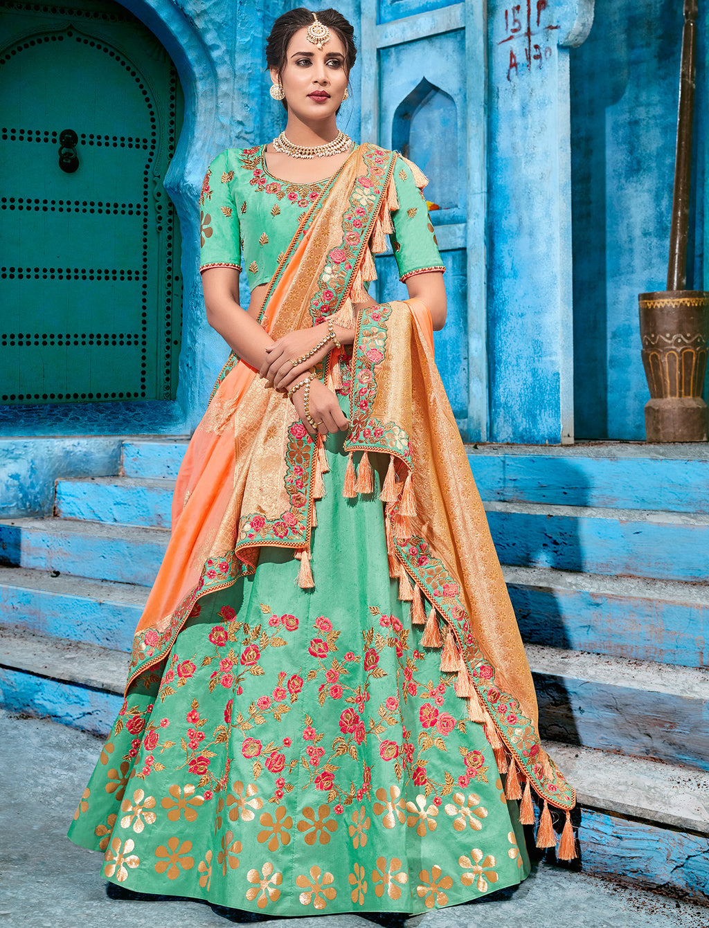 Aqua Green Color Art Silk Pretty Occasion Wear Lehengas NYF-5195