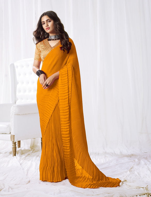 Yellow Color Satin Silk Evening wear Saree - Rangat Collection YF#10289