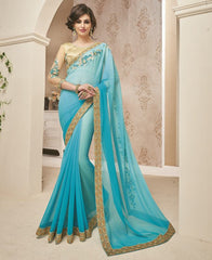 Firozi Color Wrinkle Chiffon Designer Festive Sarees : Dipshita Collection  YF-55078