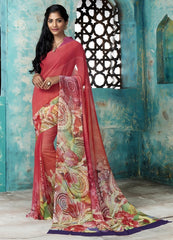 Tomato Red Color Georgette Casual Party Sarees : Trishya Collection  YF-45118