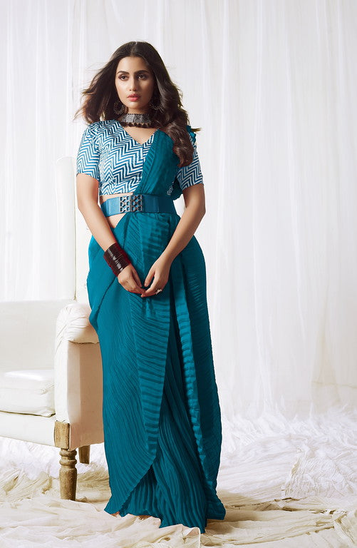 Blue Color Satin Silk Evening wear Saree - Rangat Collection YF#10290