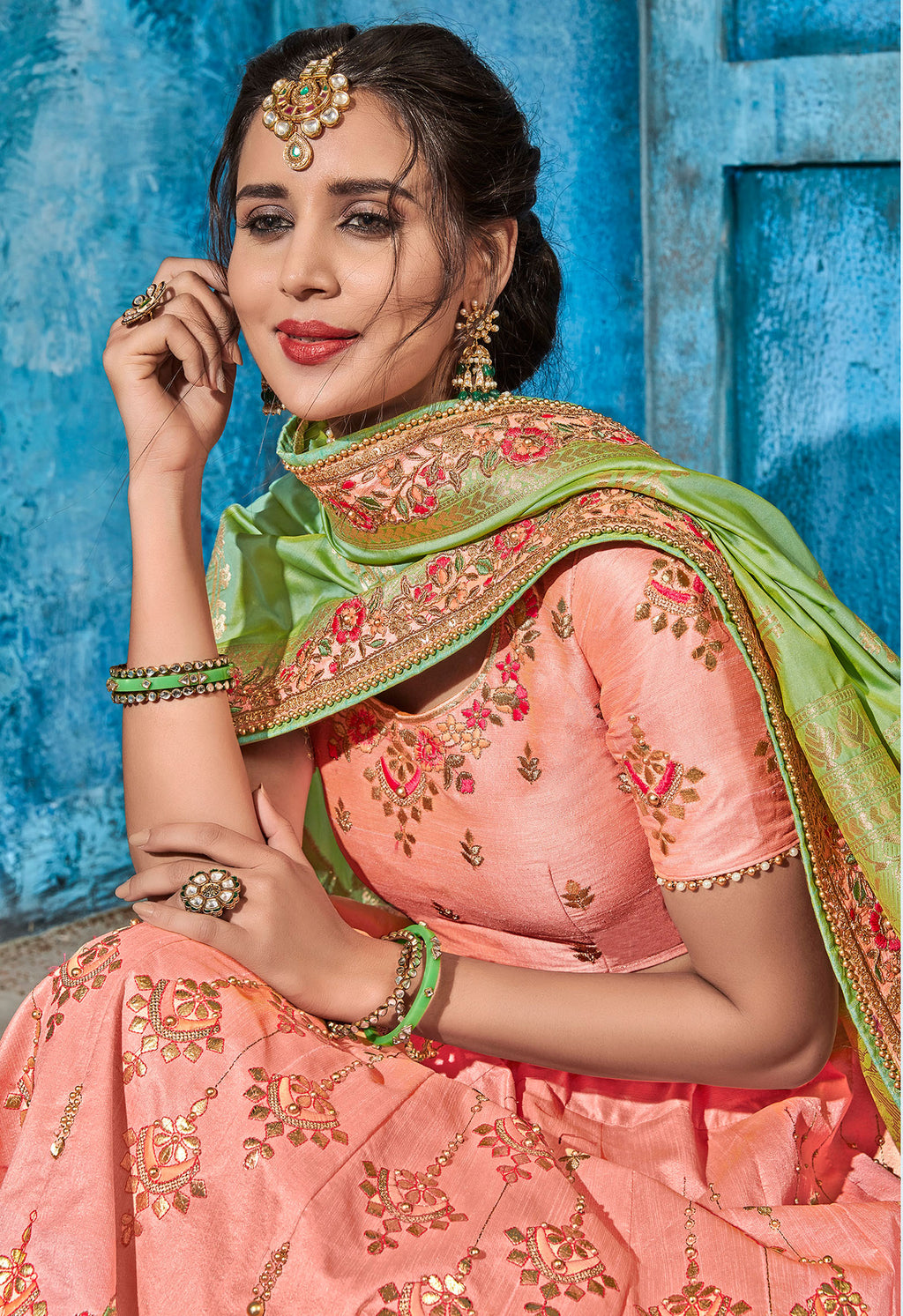 Pink Color Art Silk Pretty Occasion Wear Lehengas NYF-5196