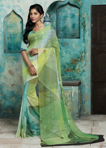 Green Color Georgette Casual Party Sarees : Trishya Collection  YF-45119