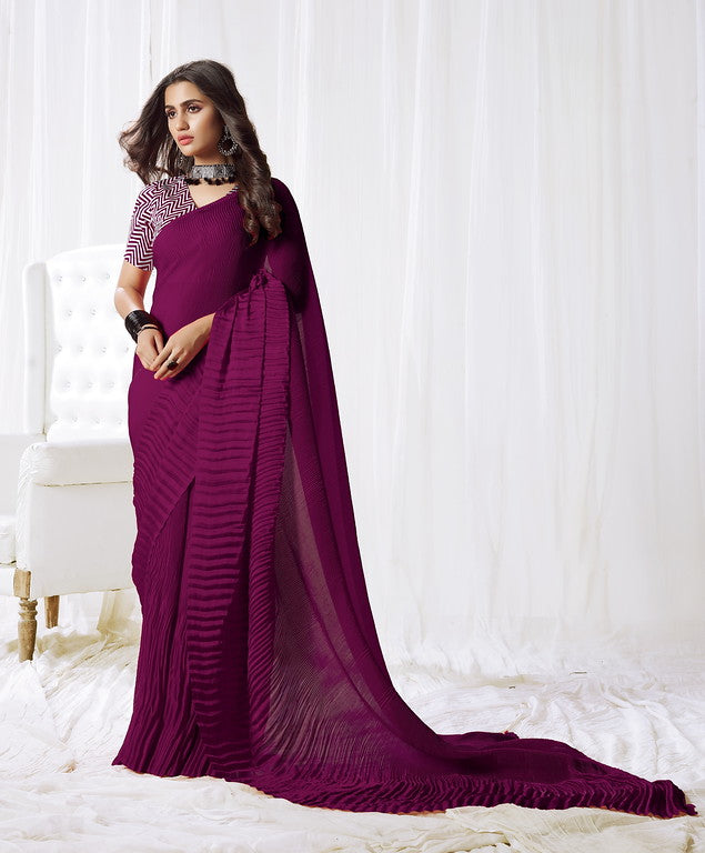 Purple Color Satin Silk Evening wear Saree - Rangat Collection YF#10291