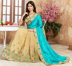 Light Coffee & Firozi Color Half Georgette & Half Satin Designer Party Wear Sarees : Takisha Collection  YF-54863