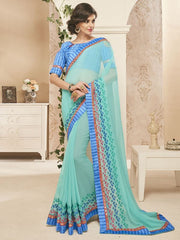 Aqua Green Color Georgette Designer Festive Sarees : Dipshita Collection  YF-55080