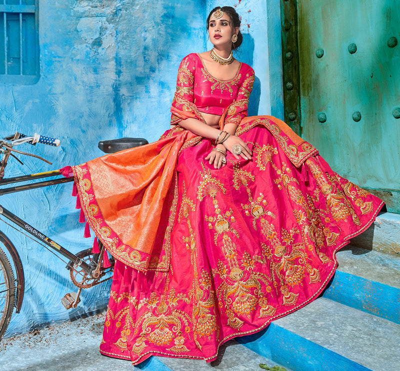 Pink Color Art Silk Pretty Occasion Wear Lehengas NYF-5197