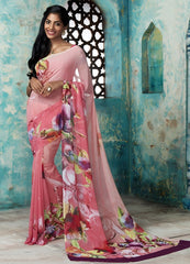 Pink Color Georgette Casual Party Sarees : Trishya Collection  YF-45120