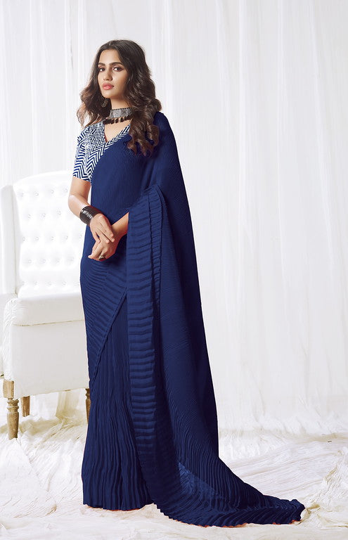 Indigo Color Satin Silk Evening wear Saree - Rangat Collection YF#10292