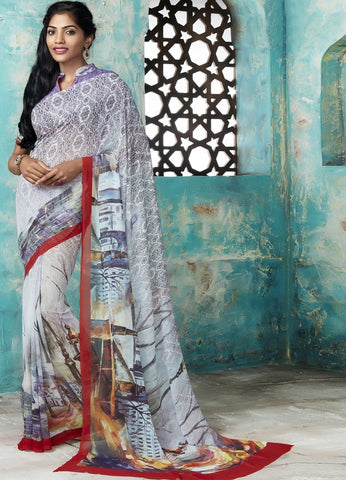 Off White & Lavender Color Georgette Casual Party Sarees : Trishya Collection  YF-45121