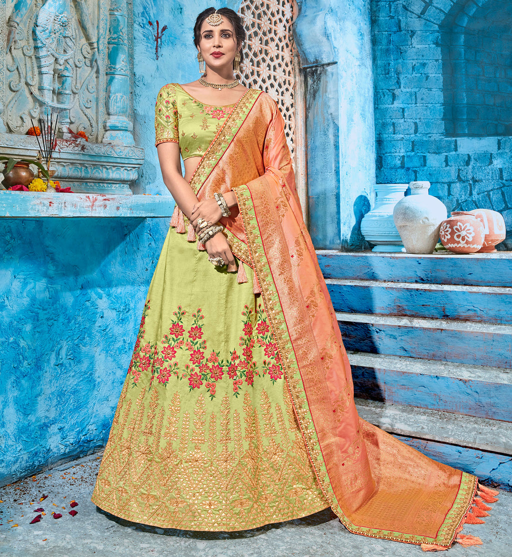 Pastel Green Color Art Silk Pretty Occasion Wear Lehengas NYF-5198